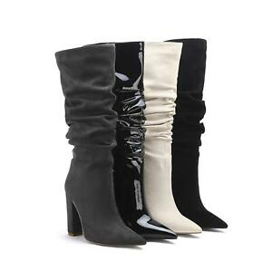 Women's Block High Heels Suede Fabric Pointed Toe Shoes Mid-Calf Plicated Boots