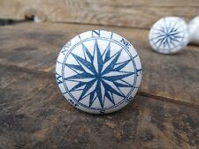 Blue & White Nautical Compass Ceramic Drawer Pull Knob ~ Cabinet Dresser