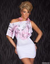 Kleid Stretch-Minikleid Party Tunika Abendkleid Weiß Gr. M/L