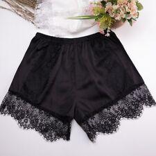 Women Lace Trim Pant Satin Shorts Underpants PajamasImitated Silk Elastic Waist