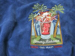 Tommy Bahama Mens Hail Mary Plush Robe Blue Embroidered Palm Trees Size XXL NWT