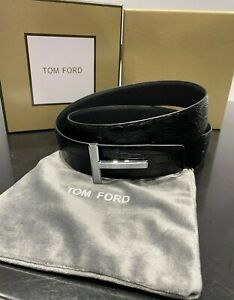 "TOM FORD Silver ""Crocodile"" Icon Belt Size 110 cm / 44"" (100% Authentic & New)"