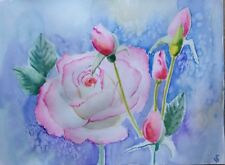 Hand Painted Original Watercolor ACEO Pink Roses AWAITING SPRING Signed by JV