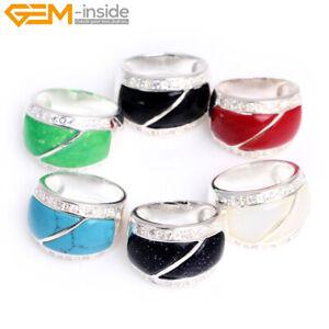 16x22mm Rectangle Gemstone Tibetan Silver Base Fashion Jewelry Ring XMAS Gift