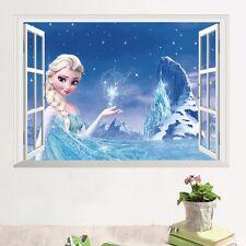 Frozen Princess Elsa 3D Window Mural Wall Sticker Decals for Child Room Decor