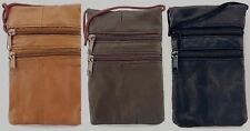Lorenz Genuine Soft Leather Travel Neck Passport Holder Pouch and Purse 3 Colors