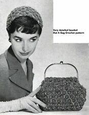 50's 1953 Crochet  Pattern  to make a handbag and hat.  Vintage pattern #5451