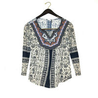 Anthropologie akemi kin silverpoint boho blouse top embroidered beaded shirt S