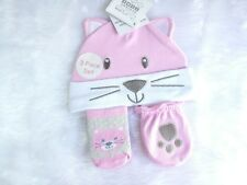 Baby girls hat socks and mittens, cat design
