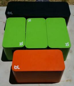 5qty bluelounge cable box cord holders 3 green 1 orange 1 large black USED