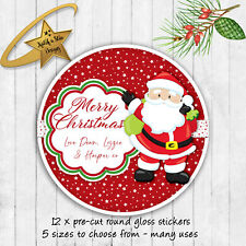 Christmas Santa Claus red personalised round gloss stickers x 12
