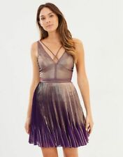 KAREN MILLEN gold purple metallic pleated club party ibiza dress 14 42 Us10 BNWT