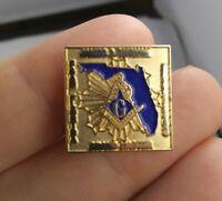 Vintage Florida Masonic Freemason Club Rare pinback button pin *EE94