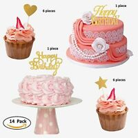 Happy Birthday Cake Cupcake Toppers Gold Glitter W/ Hearts & Stars Sticks Set