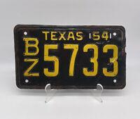 Vintage 1954 Texas License Plate BZ 5733 Bronze Star Rare