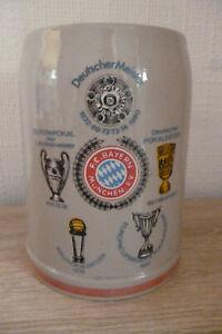 alter Bierkrug Bayern München Fußball 1980 Unterschriften Bundesliga Meister