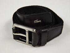 LACOSTE Black Braided Stretch Fabric w Black Leather Silver Buckle Belt XL
