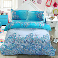 Queen Bed Quilt/Doona/Duvet Cover Set Pillow Cases Bedding Sets Blue China Style