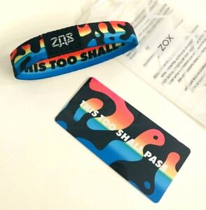 ZOX **THIS TOO SHALL PASS** Silver Single med NIP Wristband w/Card
