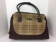 Eddie Bauer Brown Plaid Canvas Leather Shoulder Duffle Bag Doctor Weekend Bag