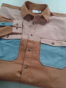 ASOS Design Men's Colourblock Oversized Wide Twill Overshirt In Tan Size Small
