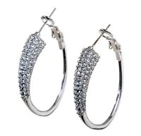 "Swarovski Elements Crystal 1 3/8"" Exist Hoop Earrings Rhodium Authentic 7245w"