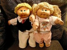"Cabbage Patch Kids Vintage Lot Of 2 Dolls/Girl/Boy/16"" Tall/W/Clothing/Free Ship"