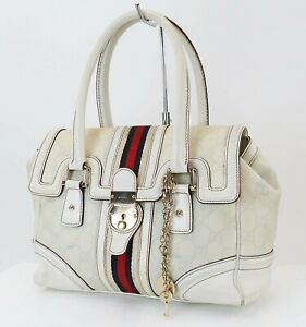 Auth GUCCI Off White GG PVC Canvas and Leather Boston Hand Bag Purse #40228