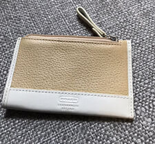 Vintage Coach Slim Wallet Beige White Leather Coin Purse Key Ring Card Holder