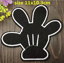 """4"""" Disney Mickey mouse Black hand/glove Embroidered Iron On / Sew On Patch"""