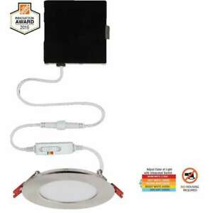 Commercial Electric Ultra Slim 4 in. Canless Recessed LED Kit Nickel