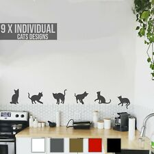 Cats Wall Art Decal Stickers Multiple Colours Funny Cute