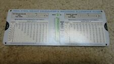 Vintage Bethlehem Steel Tool Weight Slide Rule Chart Calculator 1972