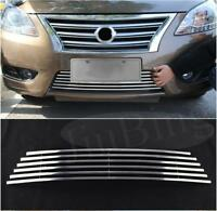 Chrome Front Bumper Bottom Hood Grille Grill Refit For Nissan Sentra 2013-2015