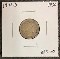 1914-D U.S. SILVER BARBER DIME ~ VF++ CONDITION! $2.95 MAX SHIPPING! C2946