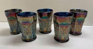 Antique Fenton Carnival Glass Tumbler Cobalt Blue Butterfly & Berry (Set of 5)