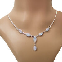 Mondstein Halskette Silber 925 Collier 40cm Kette Cabochon Edelsteine weiß blau
