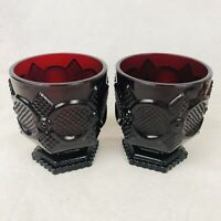 """Avon Cape Cod Ruby Red Footed 4"""" Tumbler x 2 Cups Glass Short Goblet"""