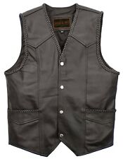 MEN'S BIKERS GENUINE COW LEATHER WAISTCOAT VEST BRAIDED MOTORCYCLE FASHION