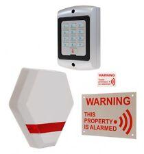 Compact Solar Powered Dummy Alarm Siren, Warning Signs & Dummy Keypad.