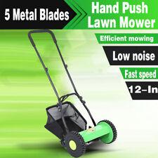 Manual Hand Push Lawn Mower Courtyard Reel Mower Lawnmower Grass Catcher 5 Blade