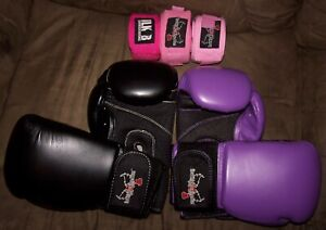 2 pair I LOVE KICKBOXING 12 oz Sparring gloves PURPLE + BLACK & 3 wraps ALL USED