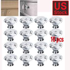 16Pcs Crystal Glass Cabinet Knob Diamond Shape 40mm Drawer Cupboard Handle Pull