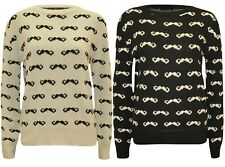 New Ladies Moustache Print Winter Knit wear Sweat Shirt Jumper Tops 8-14