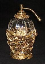 Vintage Ormalu Filigree Gold Gilt Perfume Bottle & Holder Atomizer