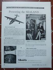 1/1948 PUB SHORT BROTHERS SEALAND AMPHIBIAN AMPHIBIE SEAPLANE ORIGINAL AD