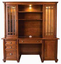 Amish Executive Credenza Desk Hutch Bookcase Solid Wood Traditional