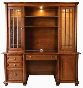 Amish Executive Credenza Desk Hutch Bookcase Solid Wood Traditional