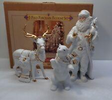 Grandeur Noel 1999 White Porcelain Reindeer Deer Family with Box Gold Trim