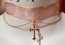 PEACH ORGANZA RIBBON CHOKER DELICATE GOLD CROSS necklace band Christian sheer K4